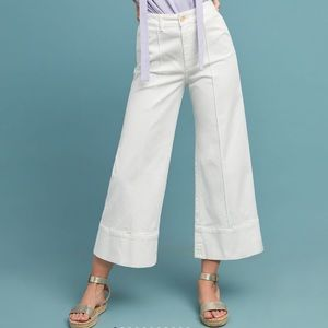 Anthropologie Pintucked Chino Wide Leg Crop Pant